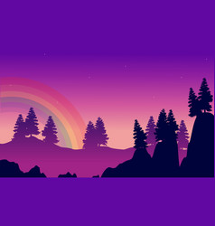 Beauty silhouette of hill with rainbow landscape vector