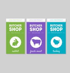 butcher shop packaging labels set rabbit fresh vector image