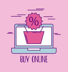 buy online basket shopping discount percent vector image