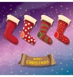 Cartoon cute christmas stocking or socks vector