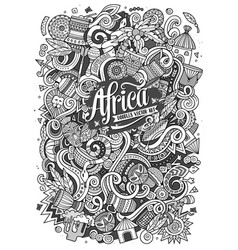 cartoon cute doodles africa vector image