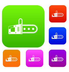 chainsaw set color collection vector image
