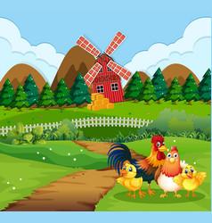 chicken family at farmland vector image