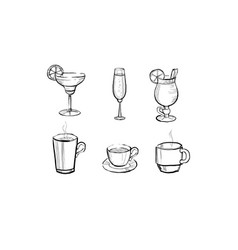 collection of beverages and hot drinks hand drawn vector image