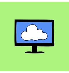 Colorful doodle style cloud computing sign vector image