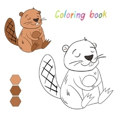Coloring book beaver kids layout for game vector image