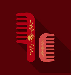 Comb hairbrush simple silhouette flat icon with vector