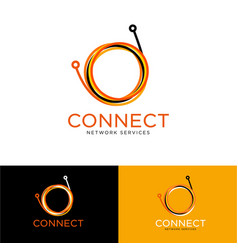connect logo optical fiber vector image