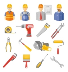 Construction workers tools flat icons set vector image