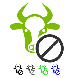 Cow forbidden flat icon vector