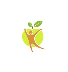 Creative green apple healthy body logo vector
