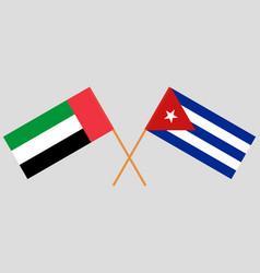 Cuban and uae flags vector