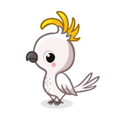 cute parrot in cartoon style is standing on a vector image
