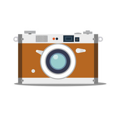 detailed old vintage camera isolated over blue vector image