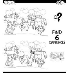 differences color book with farm animal characters vector image
