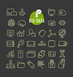Different big data icons collection web and vector