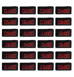 Digital clock with red numbers vector