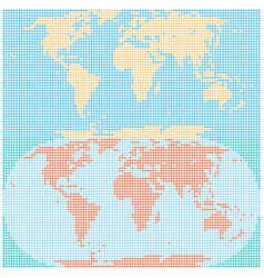 Dotted world map created by square dots in flat vector
