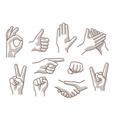 drawing hand sign vector image
