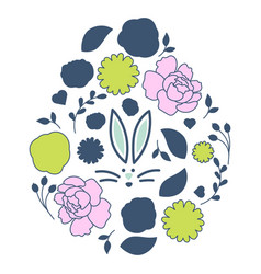 Easter egg floral style with bunny face card vector
