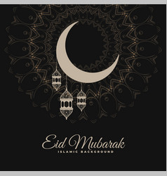 Eid mubarak dark decorative background vector