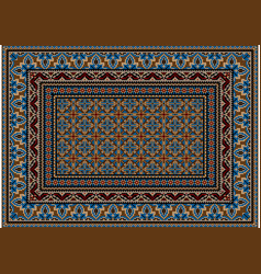 Ethnic rug ornament blue and brown patterns vector