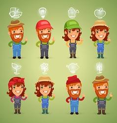 farmers with simbols set vector image