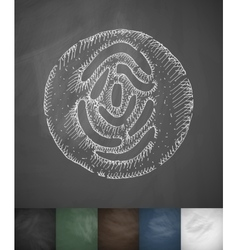 Fingerprint in the circle icon Hand drawn vector