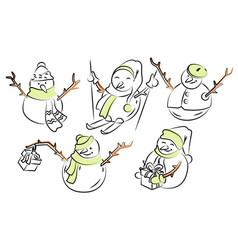 five funny snowmen in doodle vector image
