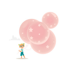 flat girl child walking with air balloons vector image