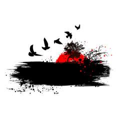 Grunge birds fly home background vector
