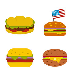hamburger icon set flat style vector image