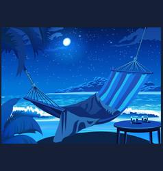 Hammock on the beach at night vector