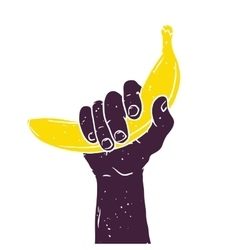 Hand with banana isolated vintage vector image vector image