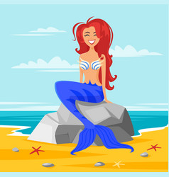 happy cute mermaid vector image