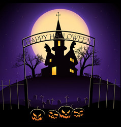 Happy halloween design with haunted house vector