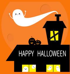 Happy halloween haunted house roof attic loft vector