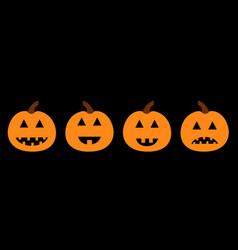 happy halloween pumpkin set line funny creepy vector image