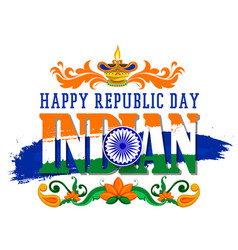 happy republic day indian festival background vector image