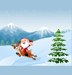 Happy santa claus riding a reindeer on snow downhi vector