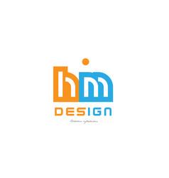 Hm h m orange blue alphabet letter logo vector