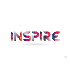 Inspire colored rainbow word text suitable vector