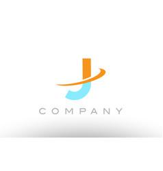 j orange blue logo icon alphabet design vector image