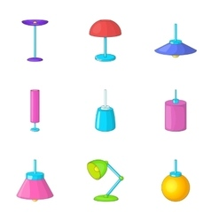Lamp furniture icons set cartoon style vector