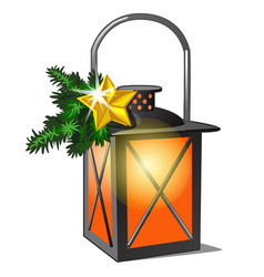 lantern with candle and twigs spruce and vector image