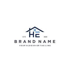 Letter he home logo design vector