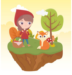 little red riding hood wolf and bakset food nature vector image