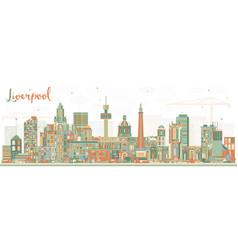 Liverpool skyline with color buildings vector
