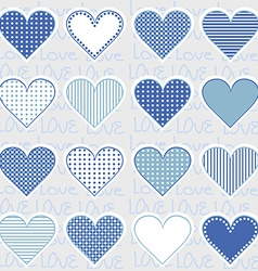Love background with heart frames on blue pattern vector image