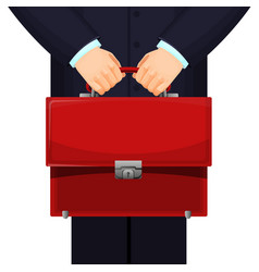Man holding red budget briefcase vector